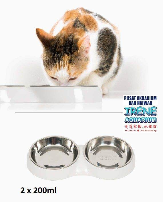 Hagen Catit Stainless Steel Feeding Dish Double 200ml X 2 (white) By Irene Aquarium & Pet Saloon.