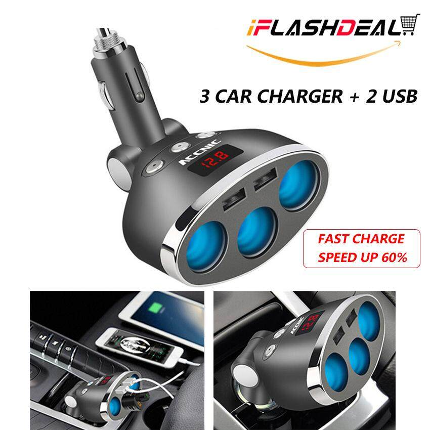 Iflashdeal Car Charger 3.1a 3-Socket Dual Usb 12v-24v Car Charger Adapter Dc Splitter With Hd Digital Led Voltage Display For Trucks, Suv, Off-Road Vehicles, Bus By Iflashdeal.