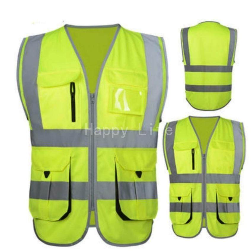 HLS High Visibility Reflective Safety Vest Reflective Vest Multipockets Workwear Safety Waistcoat(Yellow Xl Size)