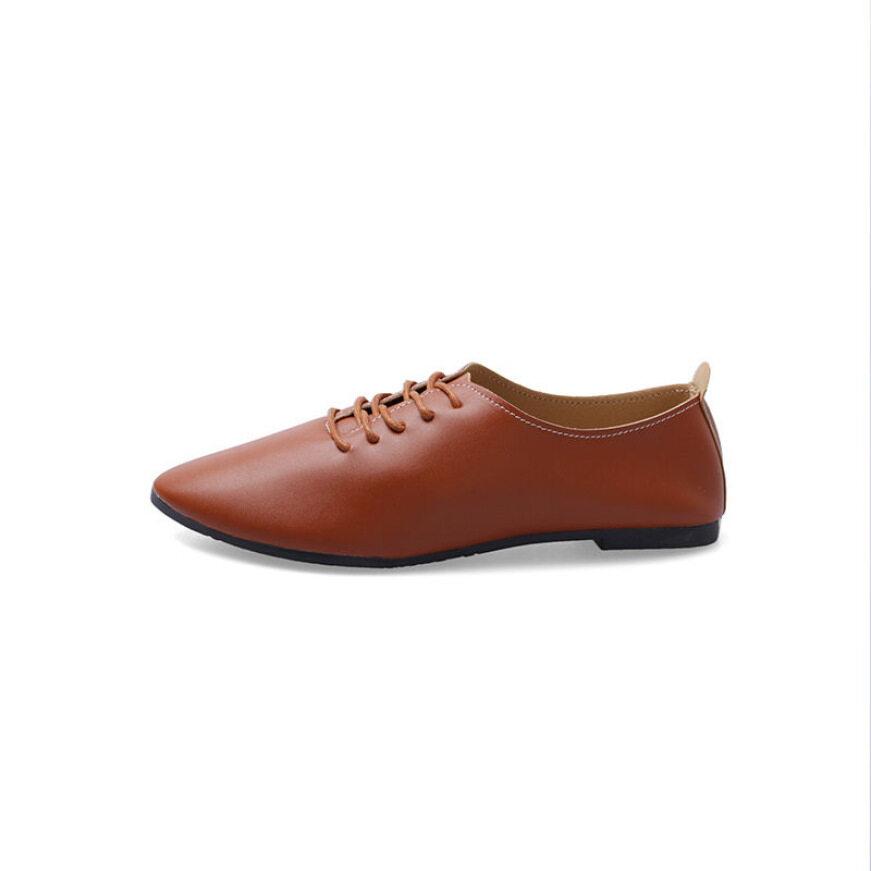Giày Da Nhỏ Chất Lượng Tốt, Giày Đế Bằng Buộc Dây Thường Ngày Cho Nữ Giày Mũi Nhọn Màu Trắng Nhỏ Giày Đơn Cỡ Lớn Cho Học Sinh Tất Cả Các-Trận Đấu Của Phụ Nữ giá rẻ