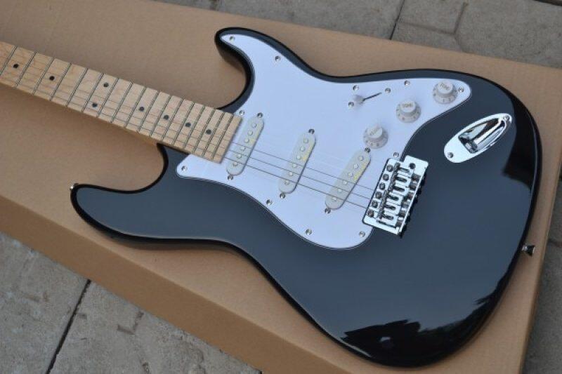 Free Shipping black Eric Clapton ST signature maple fretboard Chrome Hardware Electric Guitar E Malaysia