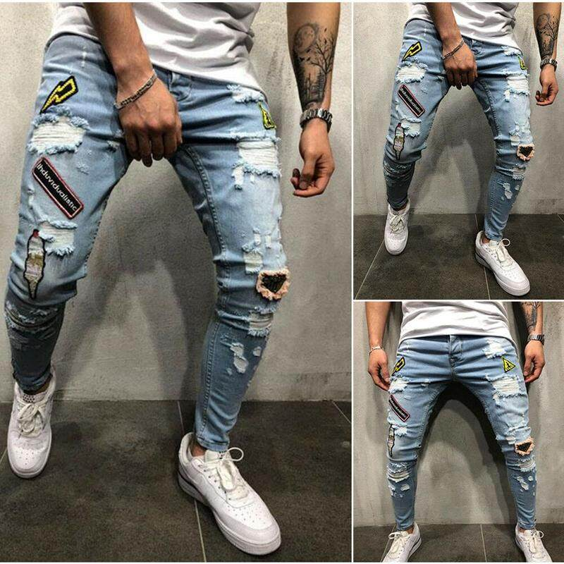 136cee62e6c Fashion Destroyed Stretchy Ripped Skinny Jeans Men Fit Denim Pants