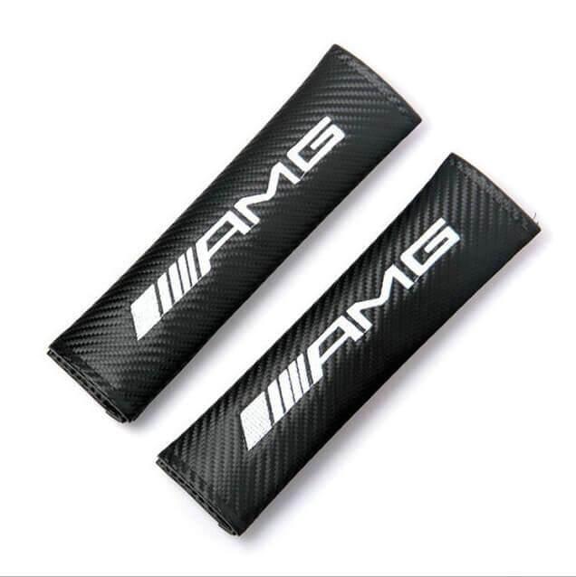 Carbon Fiber Seat Belt Cover Shoulder Pad Cushion For Mercedes-Benz 2 pcs