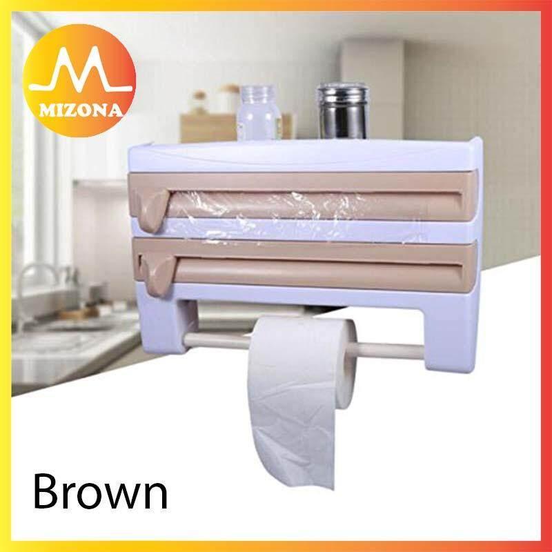 MIZONA Multifunctional Home Kitchen Storage Rack Tin Foil Paper Towel  Holder Kitchen Shelf Plastic Wrap Safe Practical Accessory - Fulfilled by  MIZONA