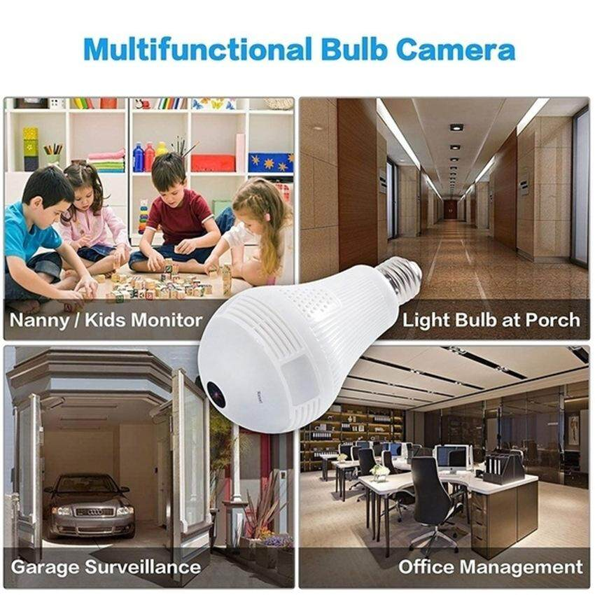 TTLIFE 【Big Sale】Wireless Security Camera Bulb LED Light Bulb Camera Panoramic IP Camera with 360 Degree Fisheye Lens Home Security System for IOS/Android APP