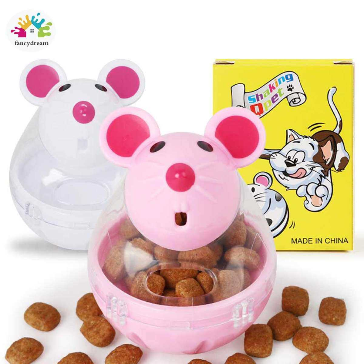Fancydream Cat Tumbler Toy Automatic Food Dispenser Funny Mouse Shape Plastic Container Pet Supplies Gift Lazada