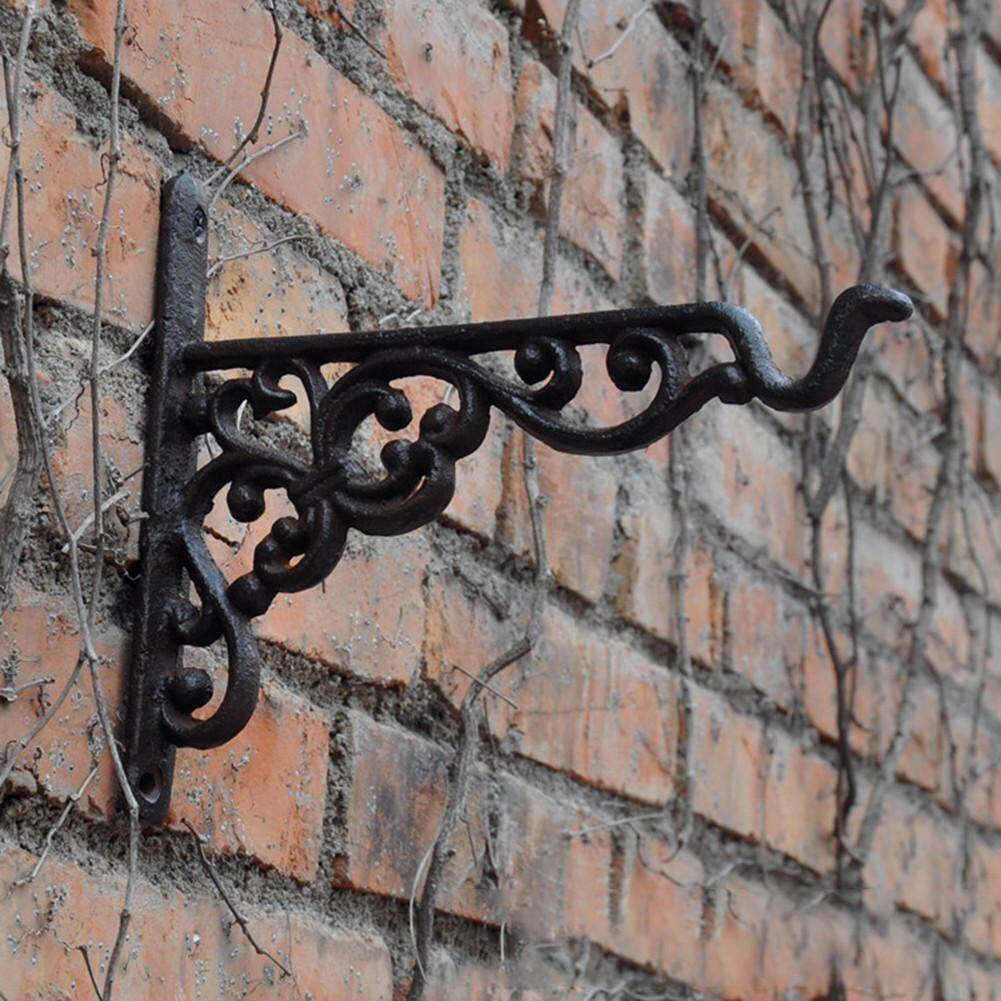 Iron Garden Wall Light Hanging Flower Plant Pot Bracket Hook Shelf Stand Holder