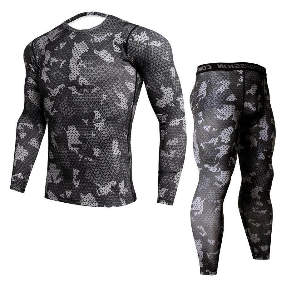 Men Long Sleeve Compression Cool Dry Sport Set Gym Tight T-shirt Pants Suit