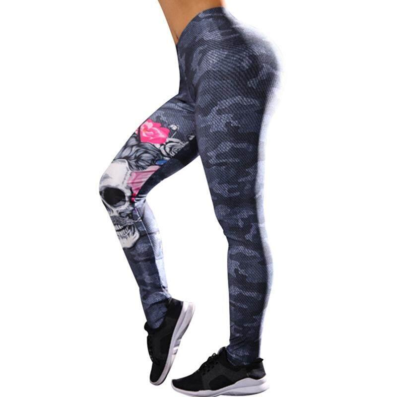 2c7e61bcd BZY Women Fashion Skull-printed Leggings Slim Sports Fit Pants
