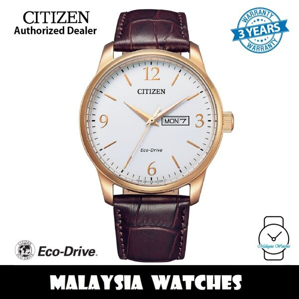 (100% Original) Citizen BM8553-16A Clasic Eco-Drive White Dial Rose Gold-Tone Case Brown Leather Strap Mens Watch (3 Years Warranty) Malaysia
