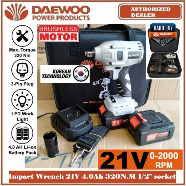 "DAEWOO 21V 4.0Ah 1/2 Socket 2in1 (Can use for ¼"" Impact Driver Bit) Brushless Impact Wrench 320N.m DAKIW22 - Can Open Car Tyre - 2 Batteries, 1 Charger & Beg - 6 Months Local Warranty -"