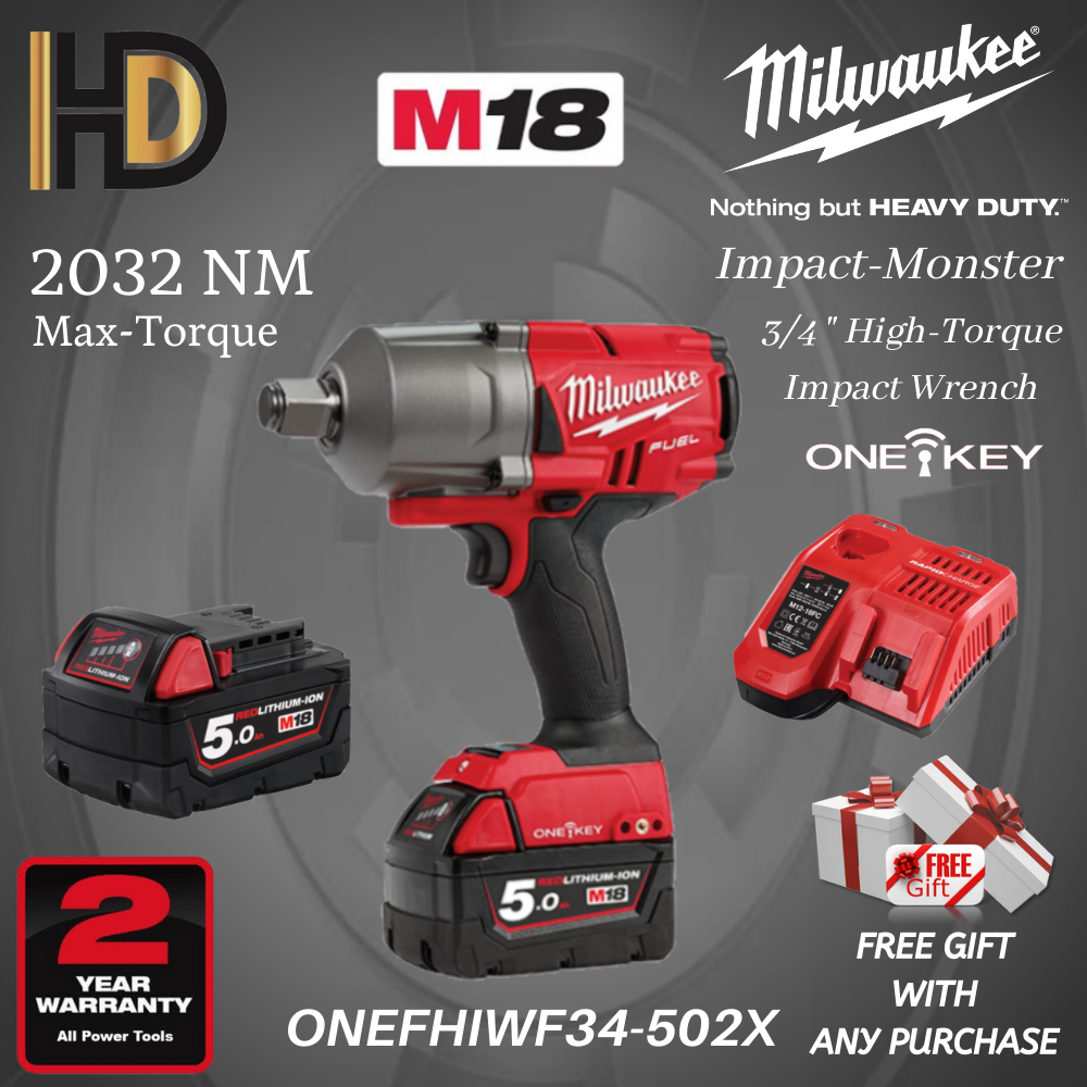 Milwaukee M18 ONEFHIWF34-502X 3/4  High Torque Impact Wrench 2032NM