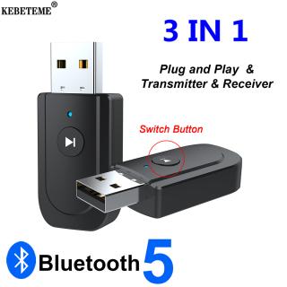 KEBETEME Bộ Chuyển Đổi USB Bluetooth 5.0, Bộ Thu Phát Âm Thanh Bluetooth AUX 3.5Mm Bộ Chuyển Đổi Dongle Không Dây Cho Loa Xe Hơi thumbnail