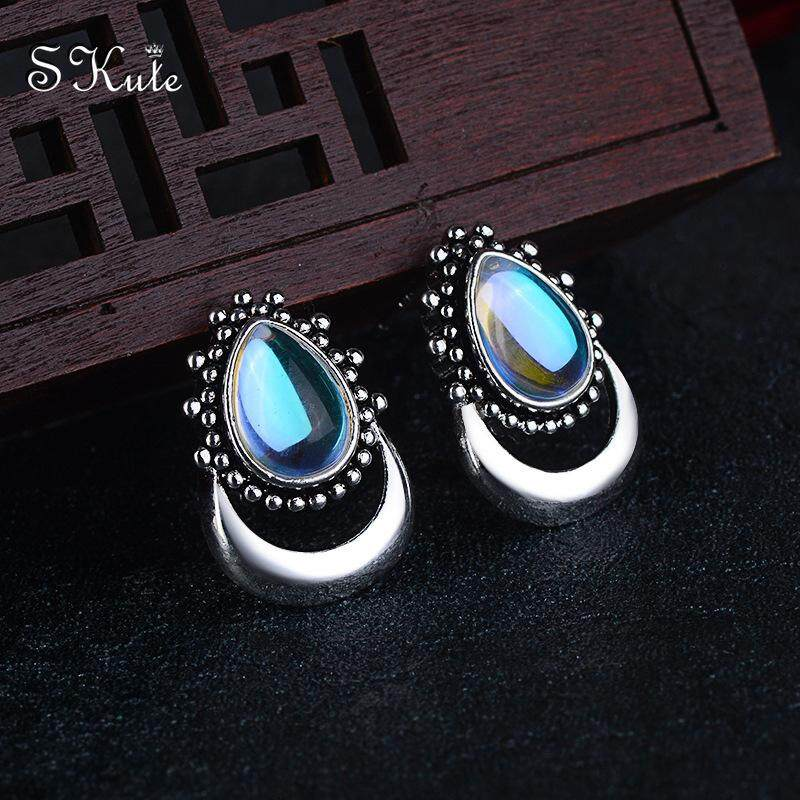 d435f02708de9 ❤SKute Cute Moon Earrings Opal Crystal S925 Silver Water Drop Earring Boho  Jewellery,1 Pair