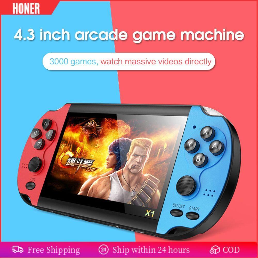 HONER -- X1 Tích Hợp 10000 Trò Chơi Máy Chơi Game Cầm Tay Video Di Động Máy Chơi Game Cầm Tay Hoài Cổ Cổ Điển Dual-Shake Máy Chơi Game Cầm Tay 4.3 Inch 8GB