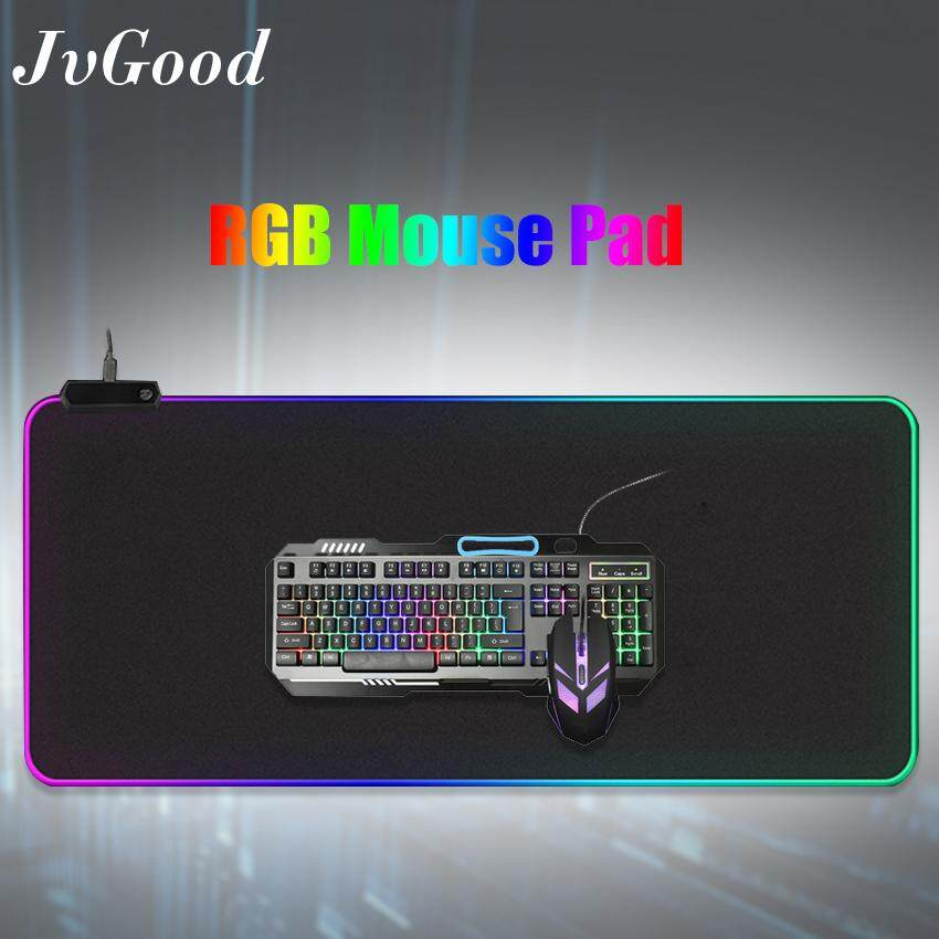 JvGood RGB Soft Gaming Mouse Pad Computer Keyboard Pad Mat Oversized Glowing Led Extended Mousepad with 14 Lighting Modes, 27.5×11.8 inches Malaysia