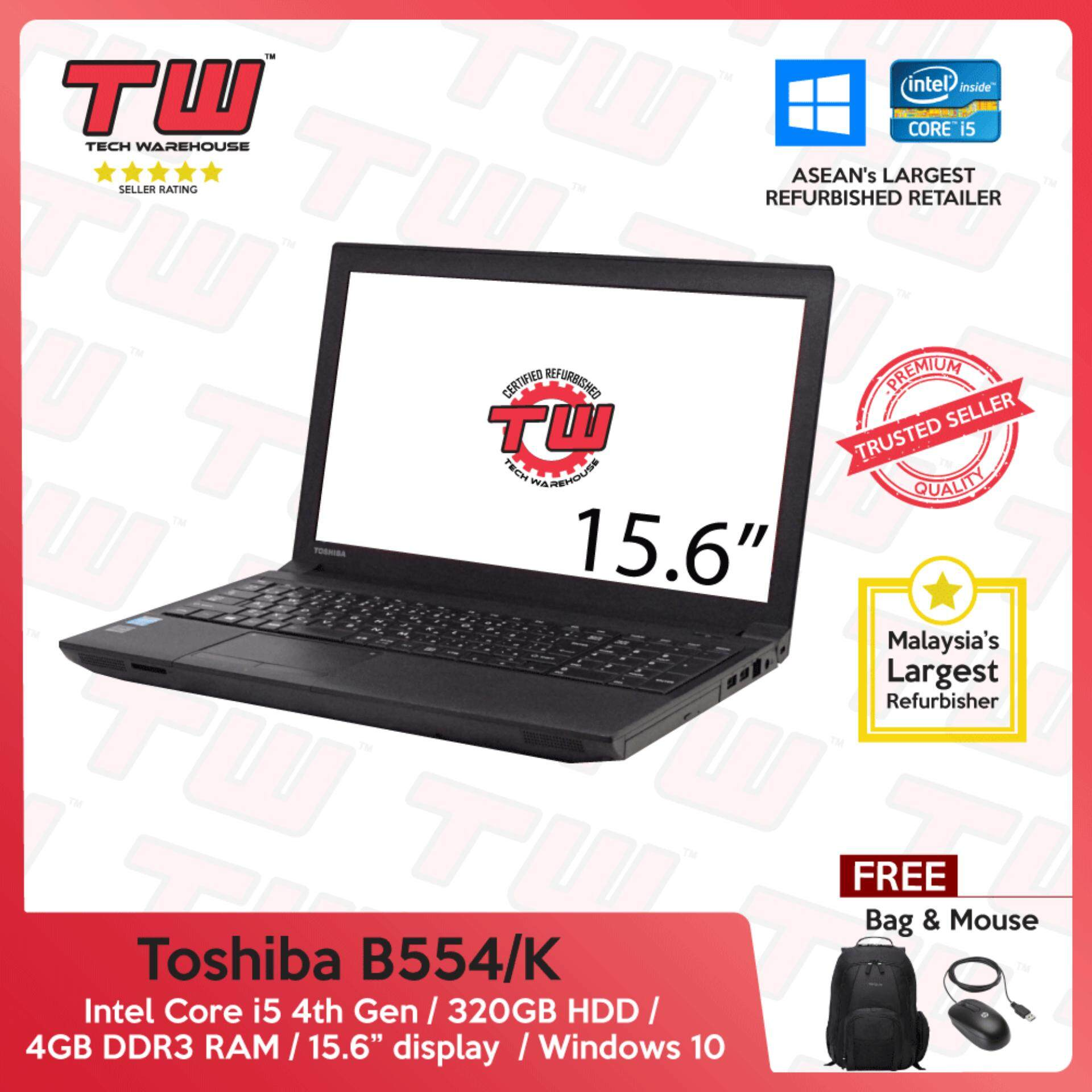 Toshiba Notebook B554/K Core i5 4th Gen 2.50GHz / 4GB RAM / 320GB HDD / Windows 10 Home Laptop / 3 Month Warranty (Factory Refurbished) Malaysia