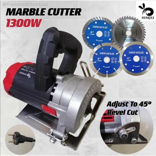 """SIMJU 4"""" Wood Marble Cutter Tile Cutter Machine (large thick plate) 1300W [INCLUDES 1 TURBO DISC   1 WOOD CUTTING DISC]"""