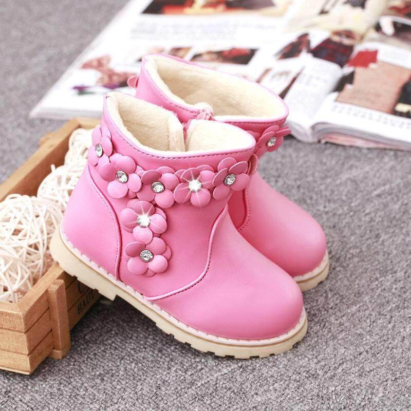 Giá bán Mùa đông nữ Mới Giày 2 bông Cashmere Ủng Bốt ren hoa nhỏ Giày trẻ em vải cotton