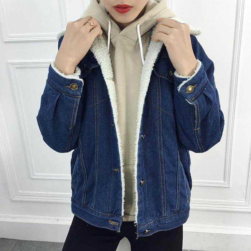 a0411c7fc6e Women Winter Denim Coat Outwear Jacket Vintage Long Sleeve Loose Jeans Coat