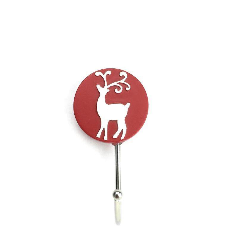 5PCS Christmas deer head traceless stick hook bedroom storage supplies creative lovely Christmas resin hook