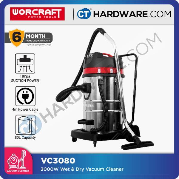 WORCRAFT VC3080 WET & DRY VACUUM CLEANER 3000W WITH BLOW & SUCTION ( 3 MOTORS )