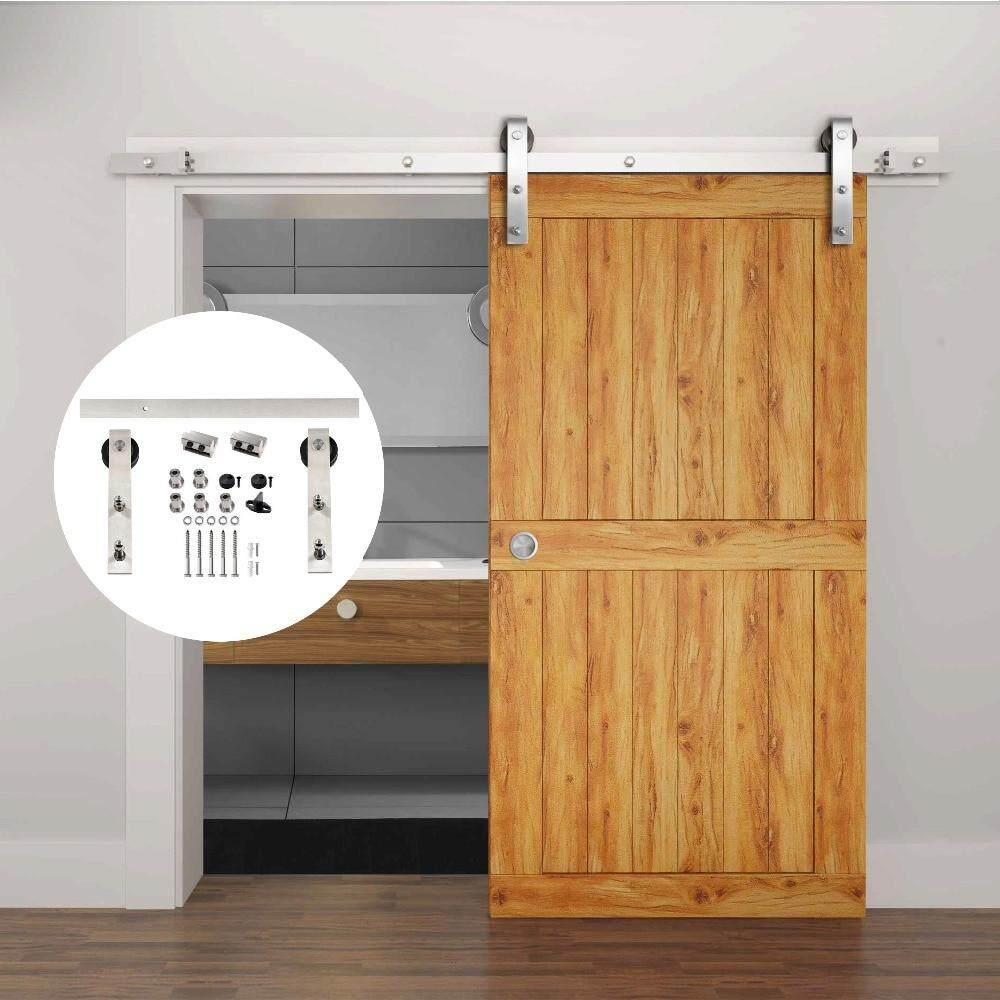 183//200cm Hardware Kit Sliding Barn Wood Door Carbon Steel Closet Track Kit 6FT
