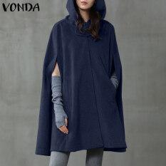 [miễnphívậnchuyển]VONDA Womens Quá Khổ Choàng Chiếc Áo Choàng Áo Khoác Dáng Dài Mùa Thu Trang Phục Nữ Áo Cardigan Có Mũ