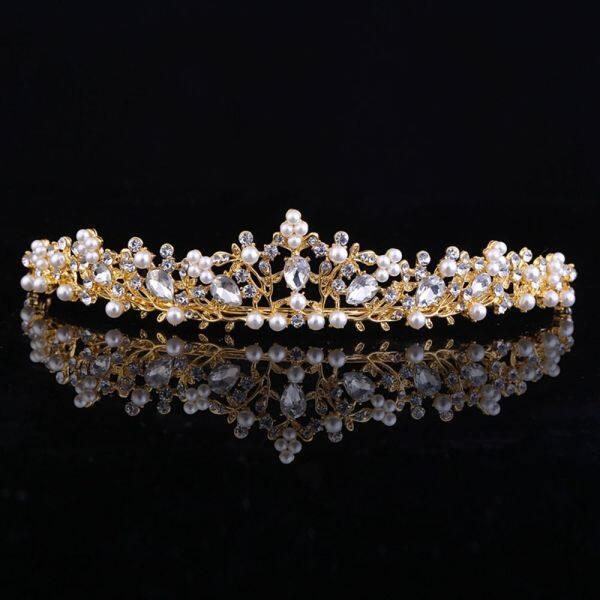 Giá bán Đối Với Đồ Trang Trí Đám Cưới Giả Ngọc Trai Cô Dâu Kim Cương Giả Phụ Nữ Vương Miện Mũ Nón
