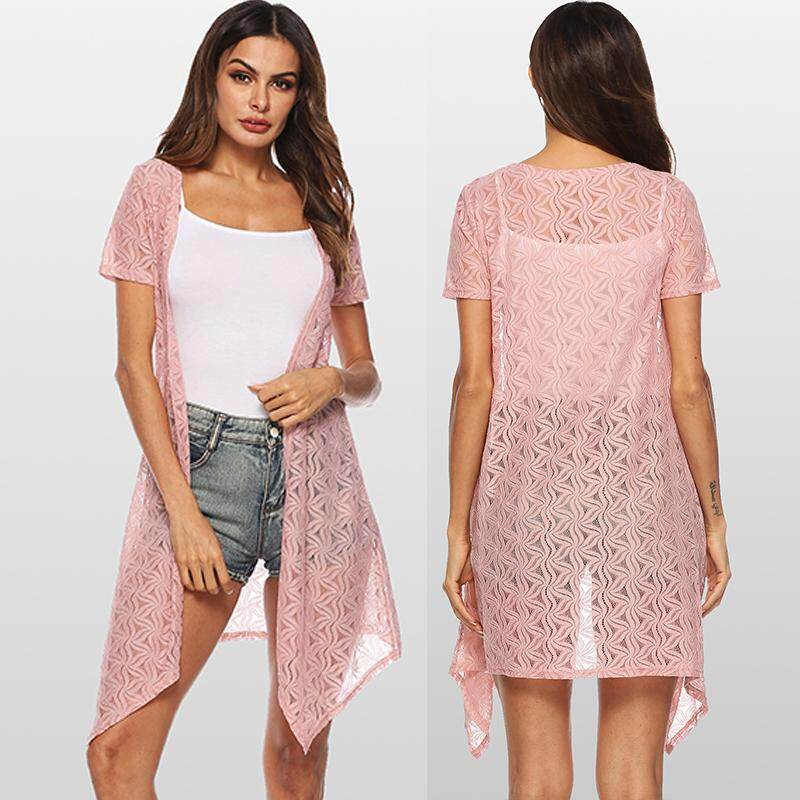 19296e2a91 Spring Women Lace Cardigan Solid Color Short Sleeve Front Open Summer  Asymmetric Swimwear Cover Up Beachwear