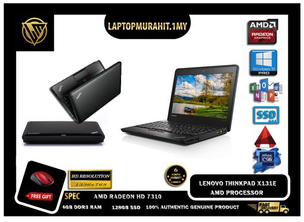 LENOVO THINKPAD X130E 11.6 INCH - 2-CORE AMD E-300 1.30GHZ TURBO BOOST / 4GB RAM / 128GB SSD STORAGE / BASIC SOFTWARES / WINDOW 10 PRO GENUINE [#LAPTOP] Malaysia