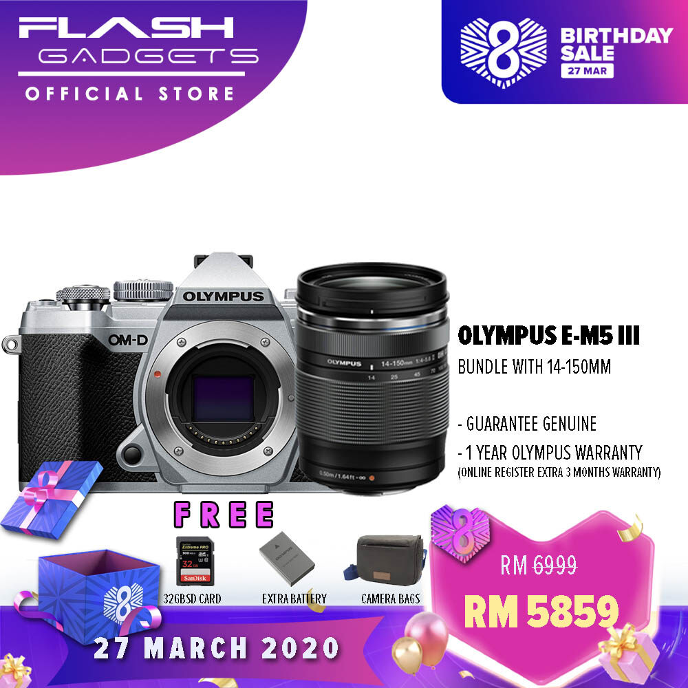 Olympus OM-D E-M5 Mark III with 14-150mm | FREE 32GB SD Card, Extra Battery, Camera Bag | 1 Year Olympus Malaysia Warranty (Online Register Additional 3 Months)