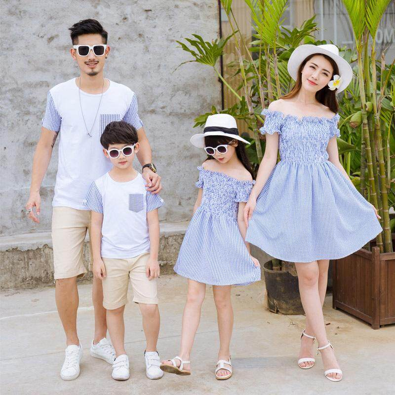 96e85fedb636d Korean family matching clothes father mother daughter son mommy and me  dress tshirt family look outfits clothing sister brother beach couple wear