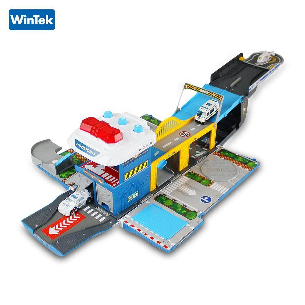 Wintek E5018 Assembled Police Station Alloy Vehicles Construction Set Toy Helicopter*1 Alloy Car*2 By Always Online.