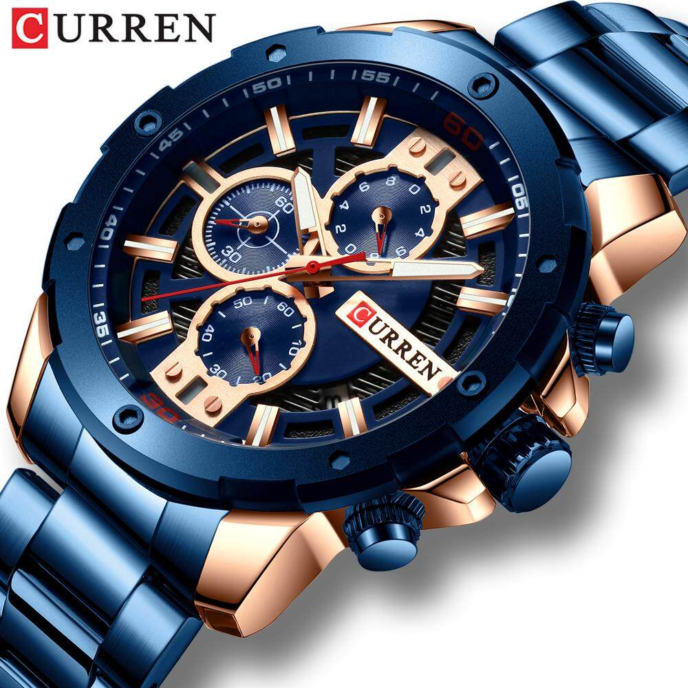 [BDAY SALE] CURREN Sports Men Watches Chronograph Waterproof Quartz Watch Three Dials Date Stainlees Steel Fashion Military Casual Wristwatches Male Clock 8336 Malaysia