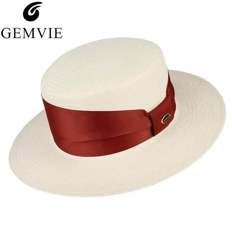 3237a0a03d66ce GEMVIE Wide Brim White Summer Hat Sun Hats For Women Men Straw Cap with Red/