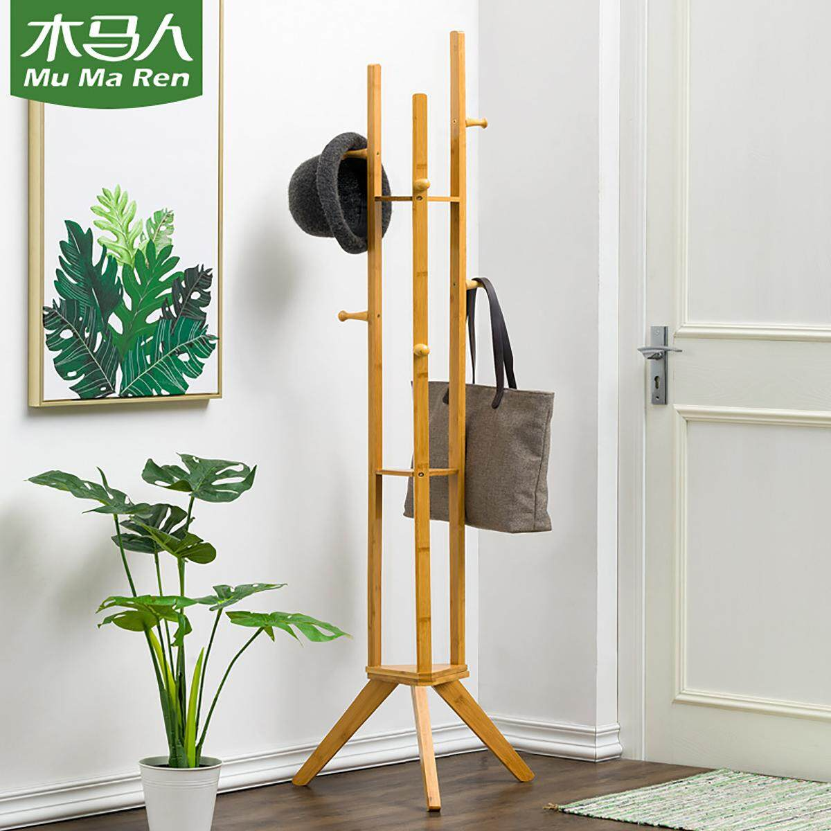 Mu Ma Ren Coat Rack Stand, Coat Tree Hanger, Hall Tree Free Standing, Farmhouse Style Bamboo Rack Holder with 6 Hooks 3-Layer Shelf for Clothes Coat,Laundry,Hat Renting/Decoration