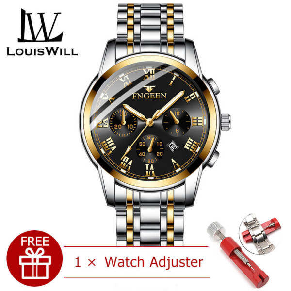 LouisWill Men Fashion Watches Quartz Watches Casual Wristwatches 30M Waterproof Watches Calendar Watches Stainless Steel Luminous Wrist Watches for Men Malaysia