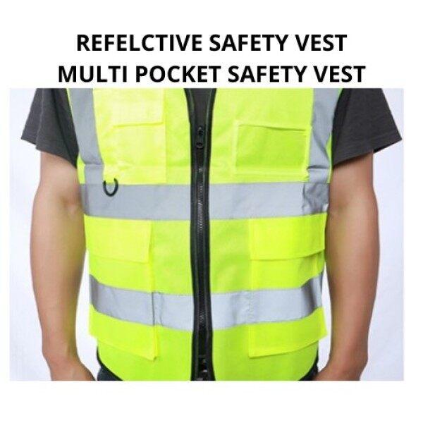 [ Local Ready Stocks ] Reflective Safety Vest High Visibility Safety Vest Clothing Multi Pockets Safety Vest Fluorescent Green Jaket Keselamatan