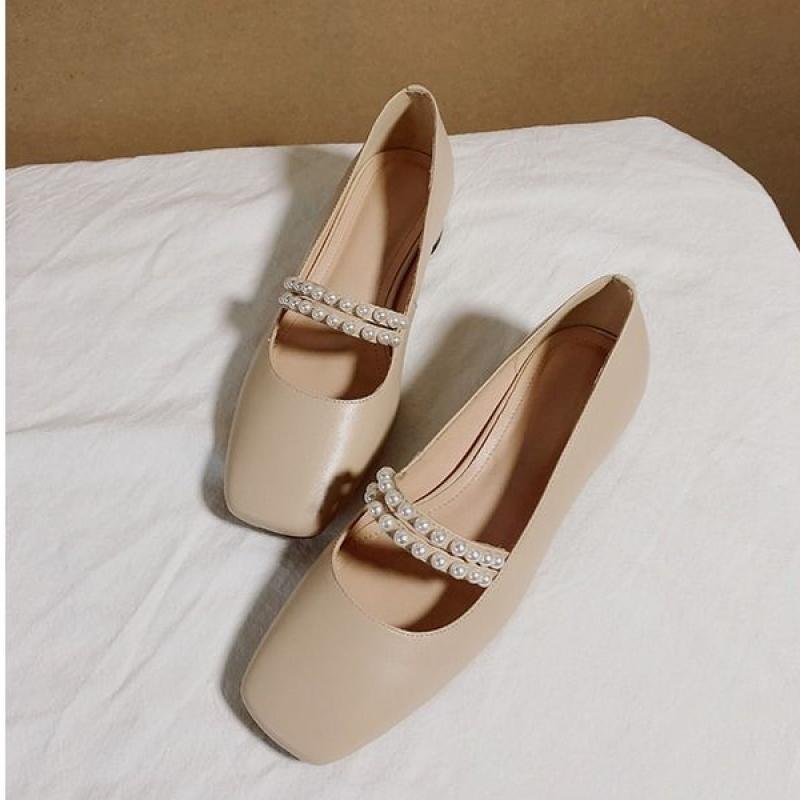 Giày Công Sở Nữ Sinh Aurora, Giày Mary Jane, Giày Da Mềm, Đế Dày Cao 3Cm, Phong Cách Thời Trang, Đính Ngọc Trai giá rẻ