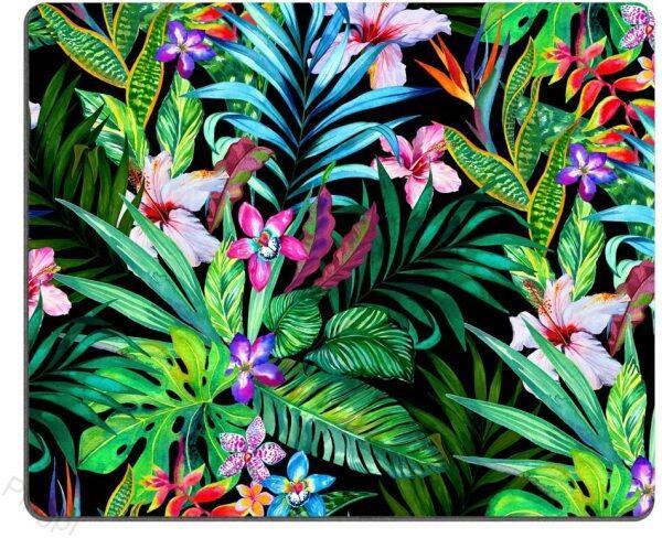 Colorful Tropical Leaf Mousepad Mat - Beautiful Design - Leaves Pink Blue Purple Green - Rectangle Mouse pad Malaysia