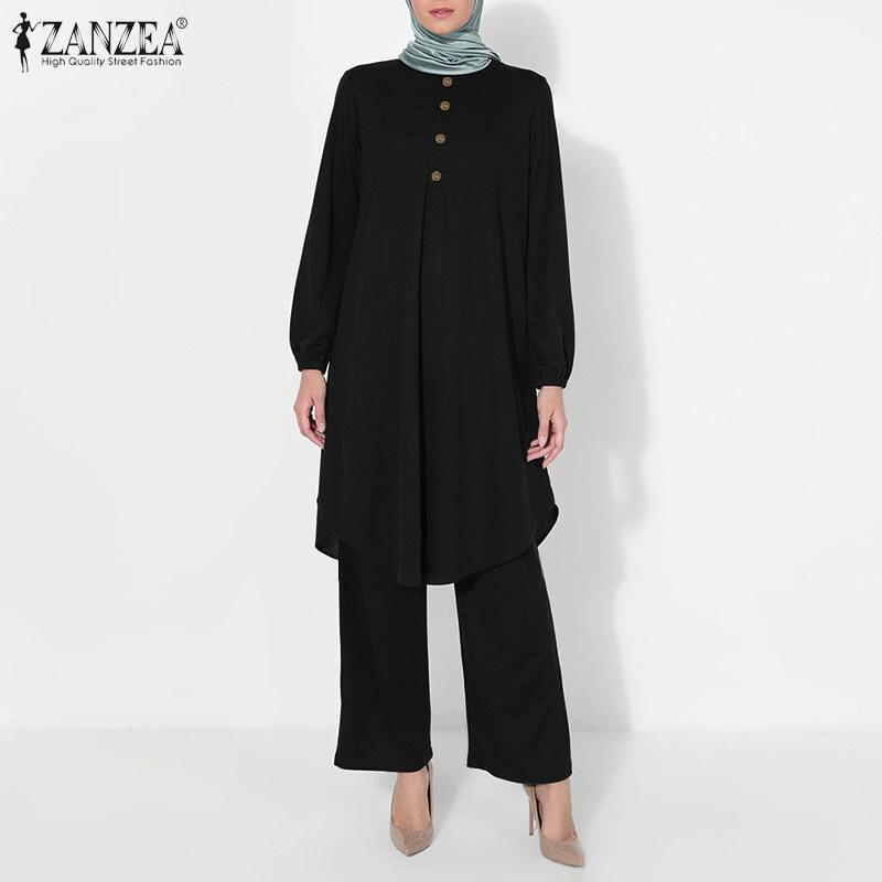 HijabFab ZANZEA Áo Có Nút Xếp Ly Màu Trơn Cổ Tròn Tay Dài Hồi Giáo Cho Nữ, Rộng Chân Quần Ăn Mặc Phù Hợp Với