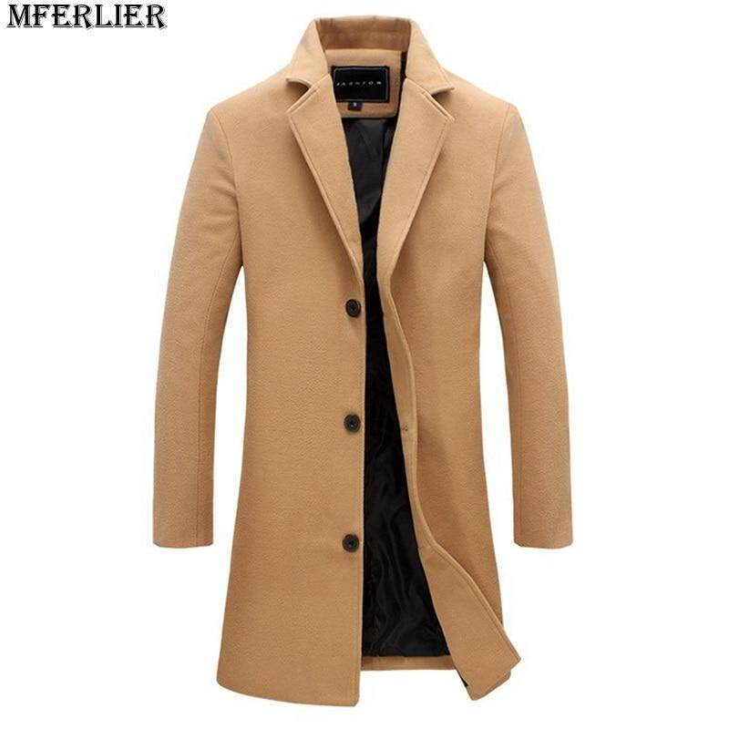 5d6e63ba62011 winter autumn wool Blends men casual trench plus size 5XL Blends jackets  england style Khaki overcoat