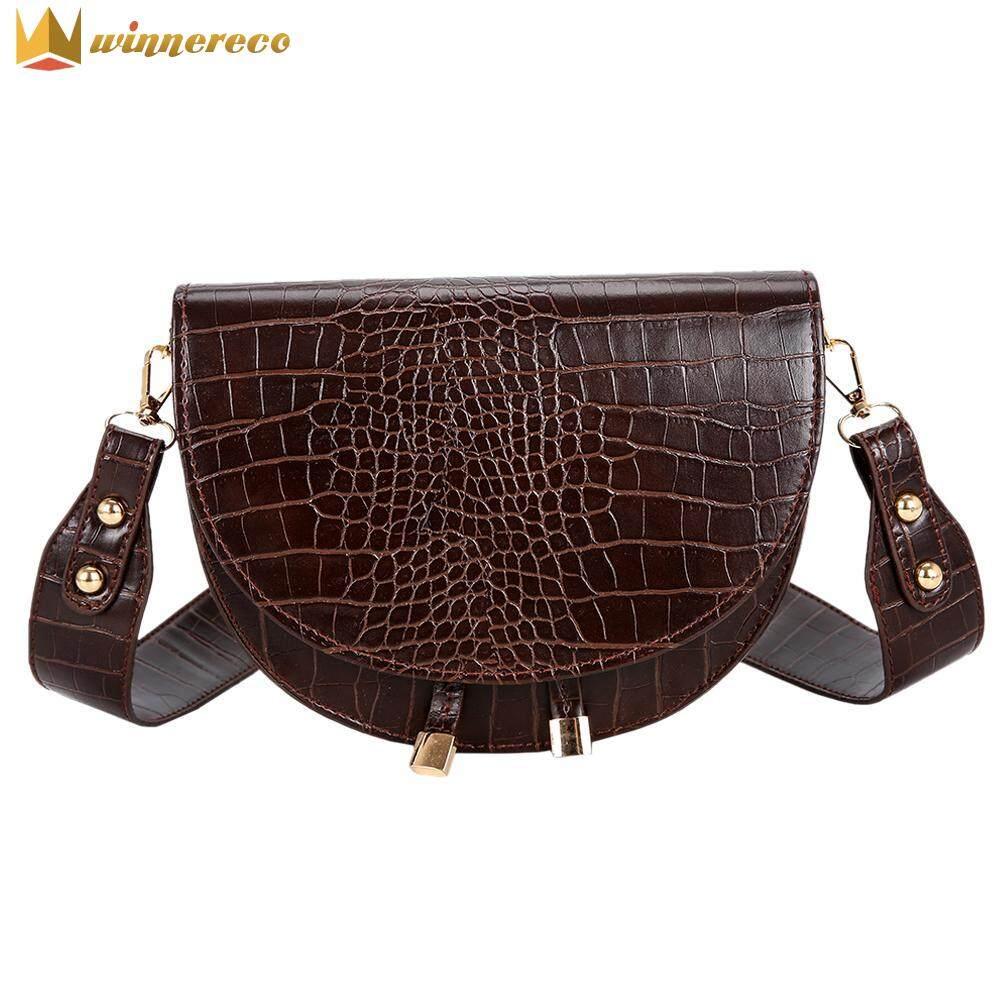 Retro Crossbody Handbags Women Semicircle Small PU Leather Shoulder Bag