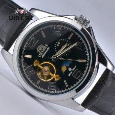 Đồng hồ nam Orient Sun & Moon bằng thép không gỉ, phong cách Nhật Bản, dây da, kính shapphire, máy cơ tự động – INTL