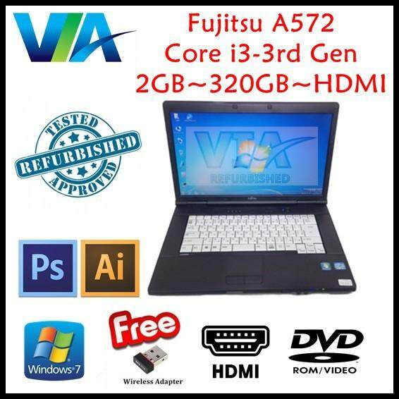 (Free Mouse) HDMI Laptop Fujitsu A572/F Core i3~2GB~320GB~Win7 & BLACK Keyboard Rubber Malaysia