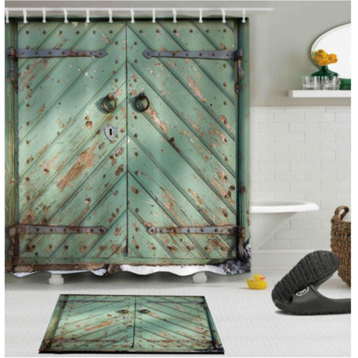 180cm X 180cm Rustic Wooden Barn Door Shower Curtain Bathroom Decor Waterproof Fabric By Glimmer.