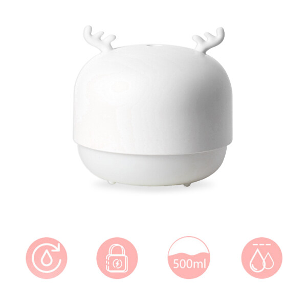 leegoal 500ML Humidifier USB Water Meter Large Capacity Power Failure Protection Super Large Fog Volume Cute Mini Cute Pet Deer Shape Home Desktop Singapore