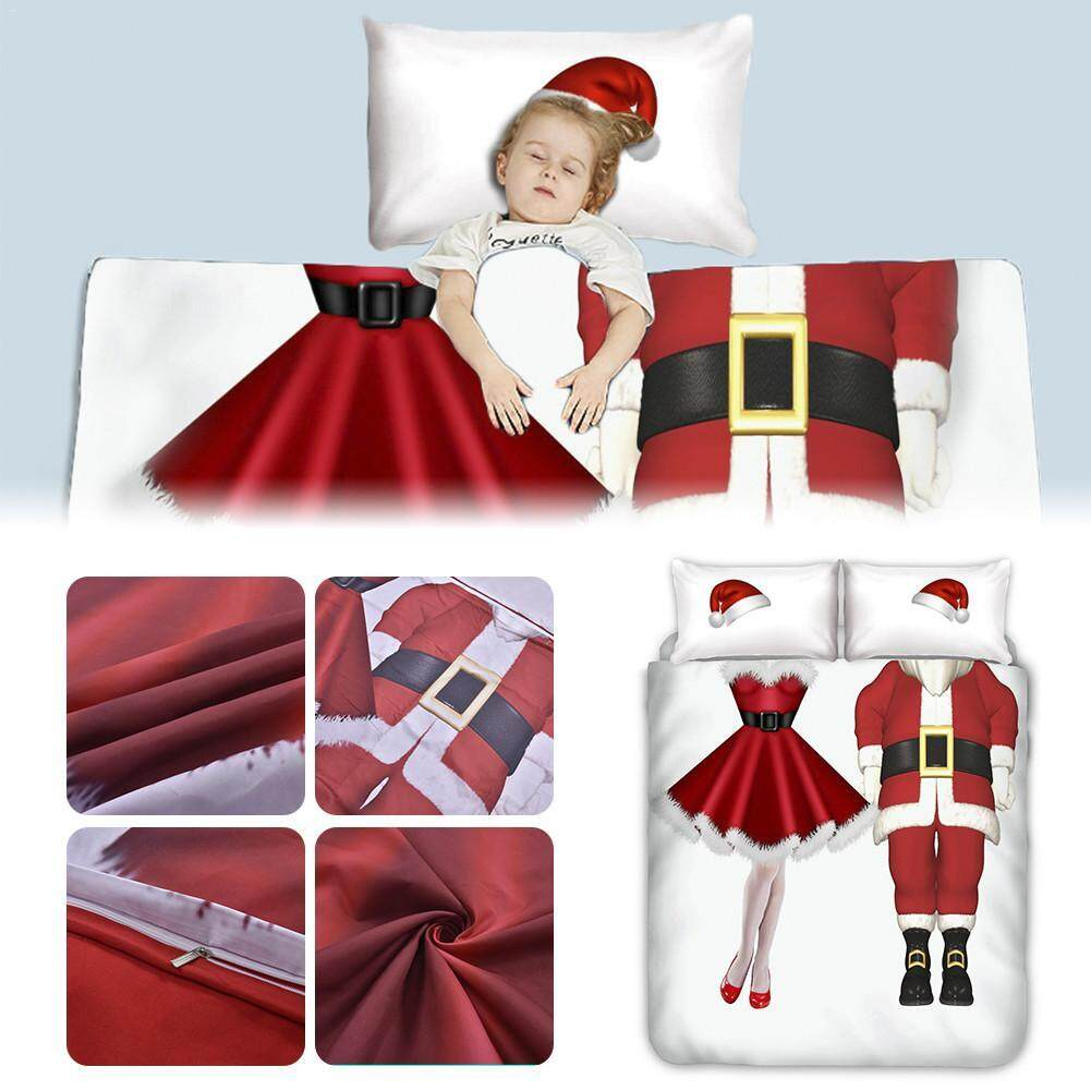 Santa Clause Pattern Bedding Set Ultra Soft Microfiber 3-Piece Quilt Cover Pillowcase Set for Home Hotels Single Apartments