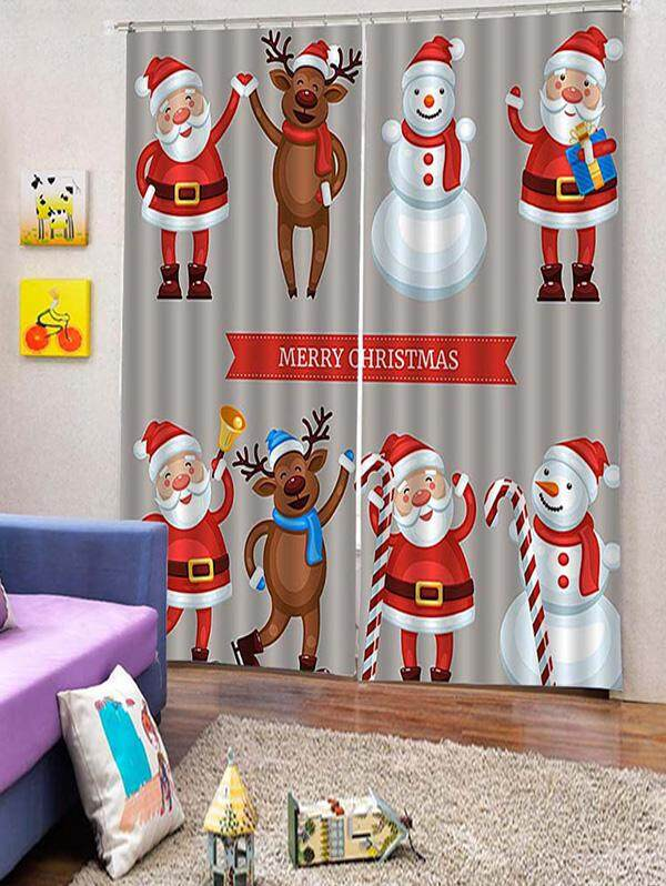 Finether 2PCS Father Christmas Elk Snowman Window Curtains